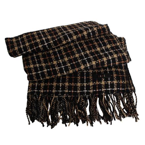 DAKS -經典款格紋流蘇圍巾(黑格)