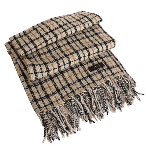 DAKS -經典款格紋流蘇圍巾(卡其色)