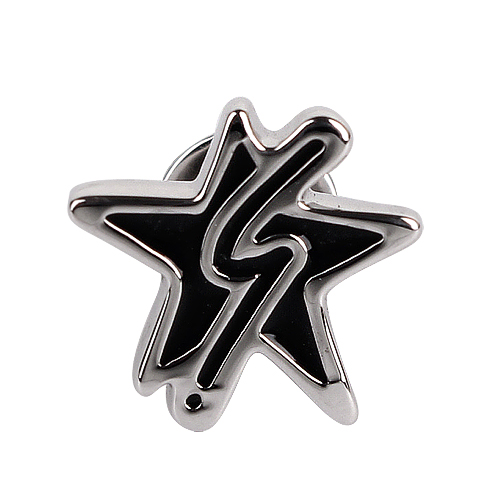 agnes b. - b-logo&星星穿式耳環/銀邊黑色(單隻)
