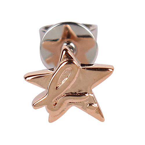 agnes b. - 星星b-logo穿式耳環/玫瑰金(單隻)