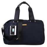 agnes b. voyage金藍logo鐵牌小旅行袋(深藍/金拉鍊)
