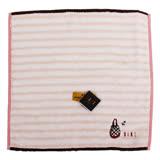 DAKS 橫條紋刺繡小手提包圖案小方巾(粉橘)