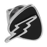 agnes b. 三角盾牌閃電穿式耳環(黑底銀邊)/單隻