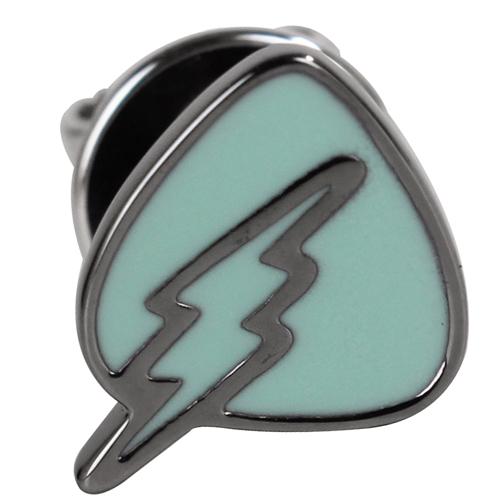 agnes b. 三角盾牌閃電穿式耳環(綠底銀邊)/單隻