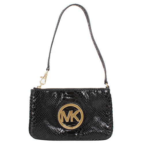 MICHAEL KORS -BLACK 大金logo牌蟒蛇紋路拉鍊手拿包(黑)