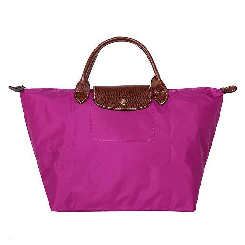 LONGCHAMP- 短把中型水餃包(紫紅色/M)