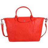 LONGCHAMP- 小羊皮短把(附背帶)摺疊肩背包-/芙蓉紅M