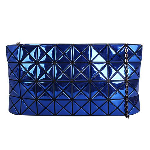 ISSEY MIYAKE BAOBAO幾何方格4x8鍊帶包(金屬寶藍)