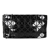 ISSEY MIYAKE - BAOBAO幾何方格4x8鍊帶包(黑)亮面