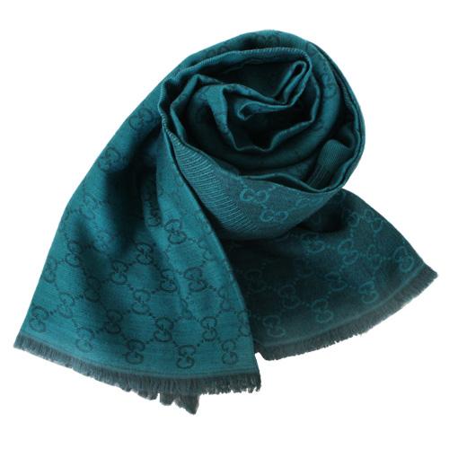 GUCCI-流蘇G-logo圍巾/披肩(綠)