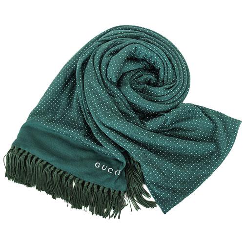 GUCCI- 流蘇點點薄長圍巾(綠)