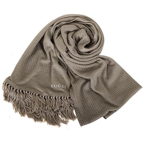 GUCCI- 流蘇點點薄長圍巾(淺褐)