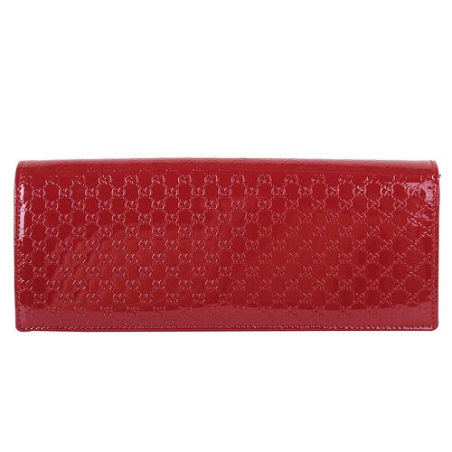 GUCCI- 小G-logo紋外漆皮內麂皮翻釦手拿晚宴包(紅)