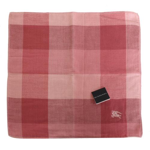 BURBERRY-經典寬格紋小方巾(粉系)