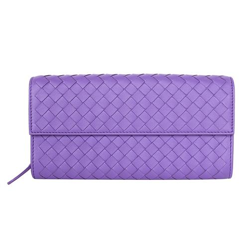 BOTTEGA VENETA  羊皮編織翻扣長夾(淡紫)