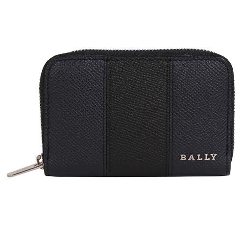 BALLY-LHOLEN 皮革拉鍊卡夾/零錢包(黑藍)
