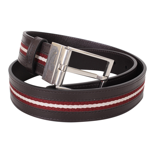 BALLY 紅白帆布&皮革皮帶(頭可翻轉)/3段尺寸
