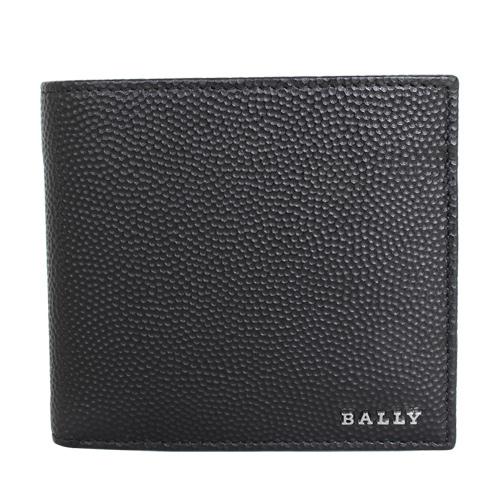 BALLY -金屬LOGO雙折皮革零錢袋短夾(黑)