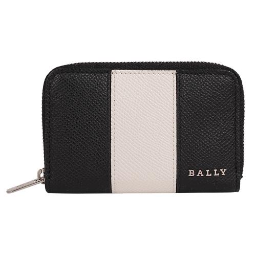 BALLY- LHOLEN皮革拉鍊卡夾/零錢包(黑白)