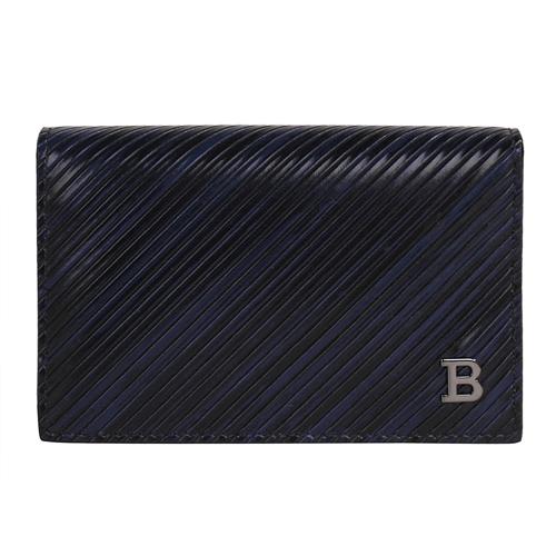 BALLY- KARSH 斜紋皮革翻蓋名片夾(黑藍)