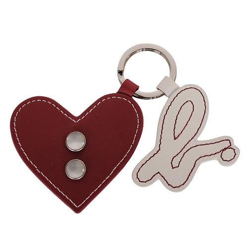 agnes.b 白色b-logo&紅色愛心造型皮革鑰匙圈