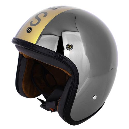 agnes b. SPORT 金色b.logo 反射鏡面安全帽(黑銀色)
