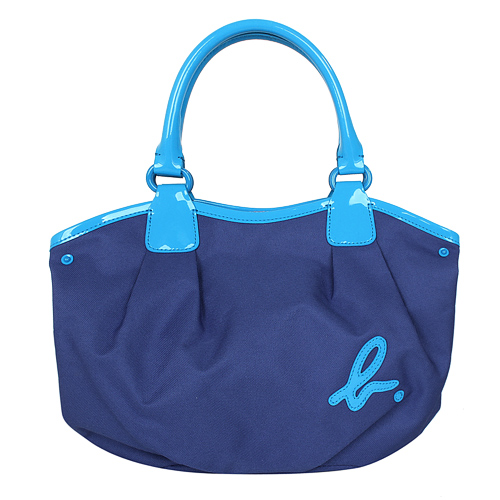 agnes b.帆布面漆皮車邊手提包(小)藍/藍綠滾邊