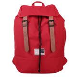 agnes b. - SPORT b.前翻蓋束口帆布/皮革磁扣後背包(紅)