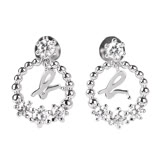 agnes b. 圓圈水鑽b-logo穿飾耳環/銀(1對)