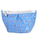 agnes b. - 泳裝芭比水餃型拉鍊化妝包(藍/銀邊)