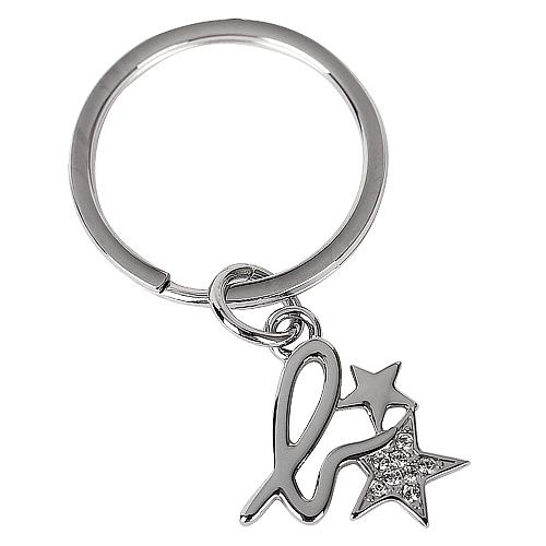agnes b. - 小b-logo水鑽星星鑰匙圈/銀