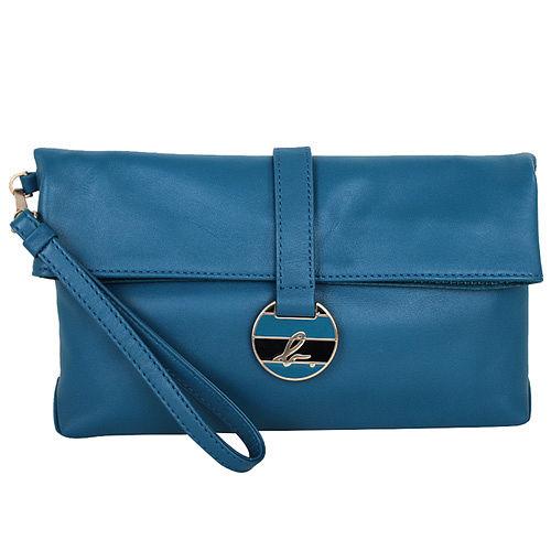 agnes b. -  淡金色邊藍綠吸扣環皮革手拿包(藍綠)