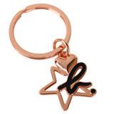 agnes b. - 黑色小b-logo愛心星星鑰匙圈(玫瑰金)