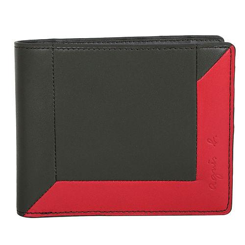 agnes b. -  附零錢袋撞色皮革雙折短夾(綠/紅)