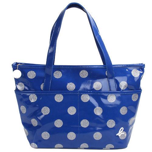 agnes b. -  金蔥點點普普風防水拉鍊購物包(小)寶藍