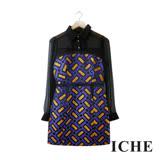 ICHE 衣哲 幾何印花拼接襯衫長袖紫禮服洋裝