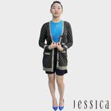 JESSICA - Bernice 典雅菱格紋金蔥針織外套