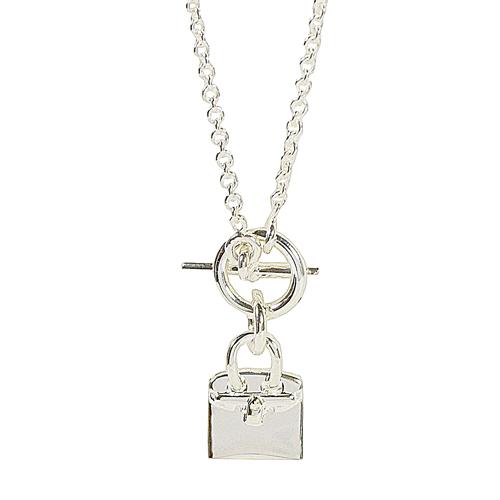 HERMES 經典Birkin柏金造型吊飾銀飾項鍊