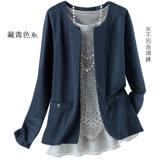 日本預購-portcros二件式蕾絲上衣無領外套組(共二色/M-3L)