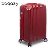 【Bogazy】愛戀巴黎 28吋PC鏡面可加大旅行箱(酒紅)