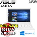 【福利品】華碩 ASUS X441SA 14吋/N3710四核/4G/500G/WIN10 文書筆電(白) 贈:大型散熱座、清潔組、鍵盤膜