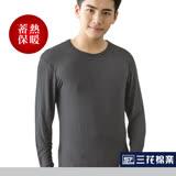 【Sun Flower三花】三花急暖輕著男圓領衫.保暖衣.發熱衣 鐵灰