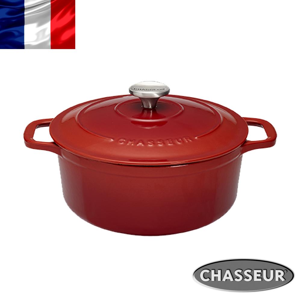 法國【CHASSEUR】2017新品 獵人黑琺瑯鑄鐵彩鍋18cm(櫻桃紅)