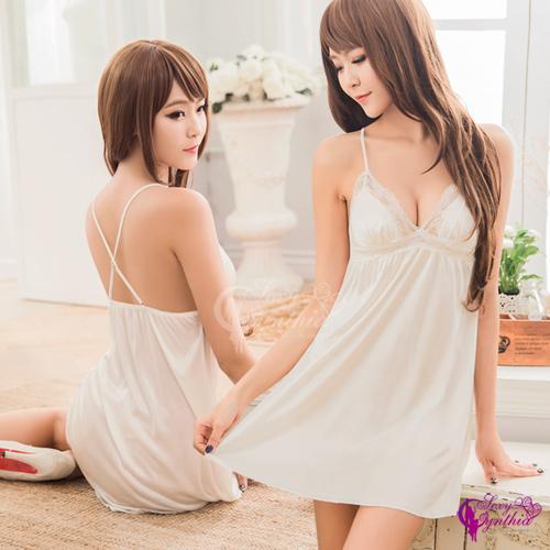 【Sexy Cynthia】性感睡衣 純淨白柔緞蕾絲交叉美背睡衣