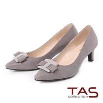 TAS 立體蝴蝶結飾片尖頭高跟鞋-低調灰