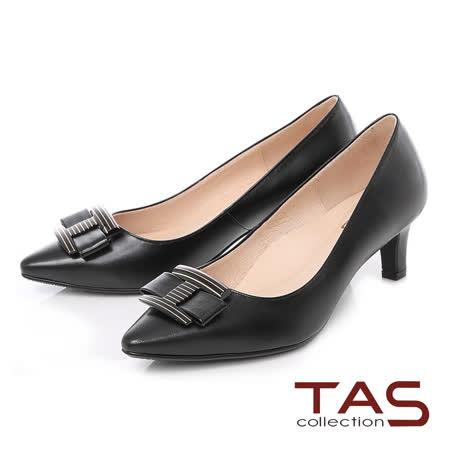 TAS 立體蝴蝶結飾片尖頭高跟鞋-質感黑