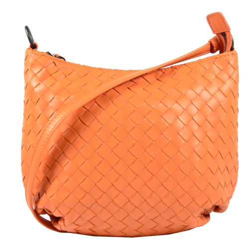 BOTTEGA VENETA 經典編織羊皮長揹帶肩背包.橙