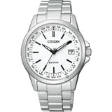CITIZEN 星辰 限量 光動能電波萬年曆手錶-白x銀/39mm CB1090-59A