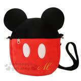 〔小禮堂〕迪士尼 米奇 絨毛造型斜背手機包《黑紅.耳朵.衣服》後方透明袋設計