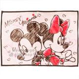 〔小禮堂〕迪士尼 米奇米妮 隨身披肩毯《粉咖.滿版愛心.背對背》毛毯.70x100cm